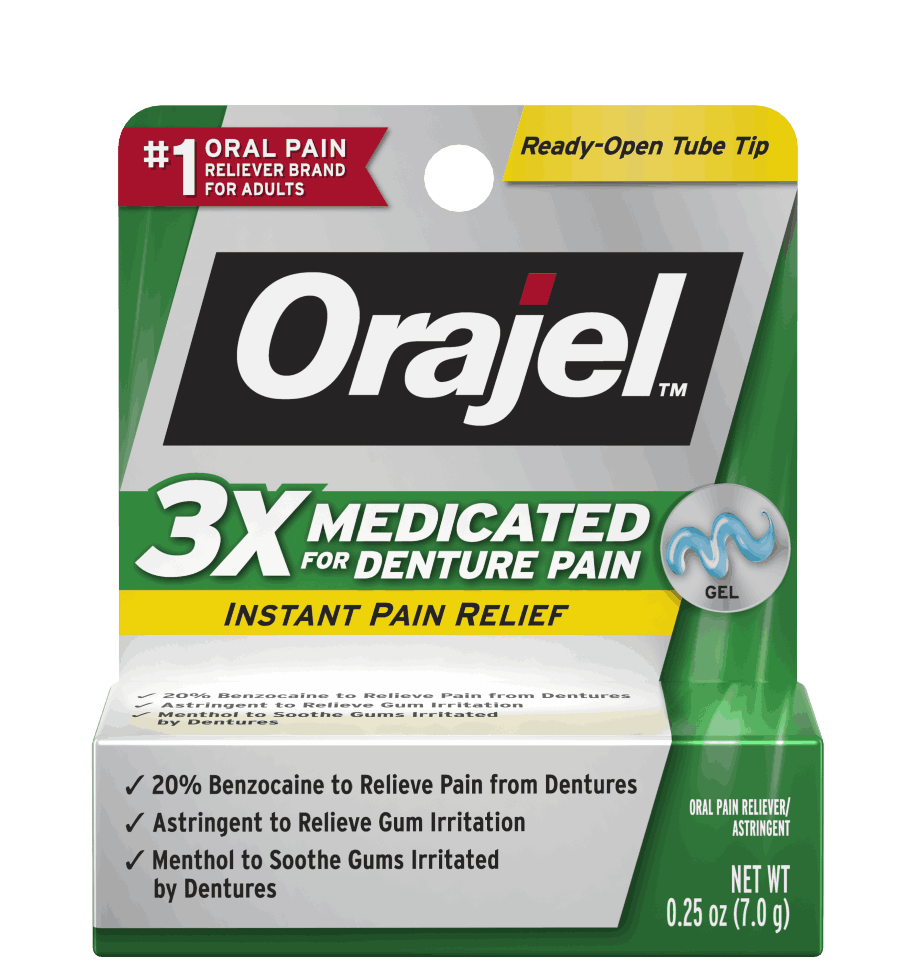 3x Medicated For Denture Pain Gel Orajel